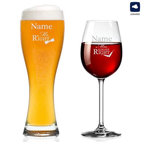 polar-effekt Leonardo 2er Set Weizenglas und Weinglas mit Gravur - Mr. & Mrs. Always Right -...