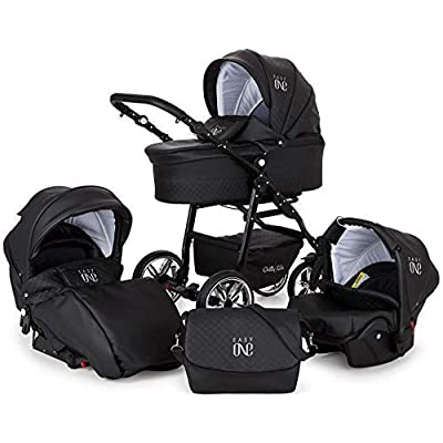 SaintBaby Stroller Pram 3 in 1 All in one Accessory Isofix Buggy Baby car seat Easy-Go Black with Isofix Base