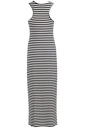 Fast Fashion Frauen Maxi Kleid Berühmtheit Inspirierten Streifen Racerback  Dehnbar Lange Schwarz/Weiss