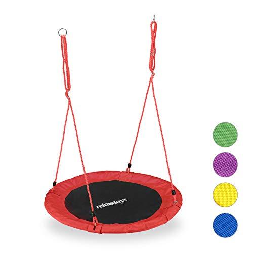 Relaxdays Unisex- Erwachsene, rot Nestschaukel, rund, für Kinder & Erwachsene, verstellbar, Ø 90 cm, Garten Tellerschaukel, bis 100 kg, H x D: ca. 5 x 90 cm
