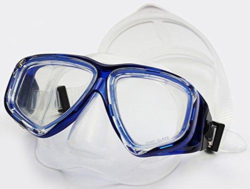 WOWDECOR Masque de Plongée pour Myopie, Professionnel Snorkel Mask Lunettes de Natation Myopes Optiques Correctives, Adulte Enfant Dioptrie Snorkeling Tuba (Bleu, 0)