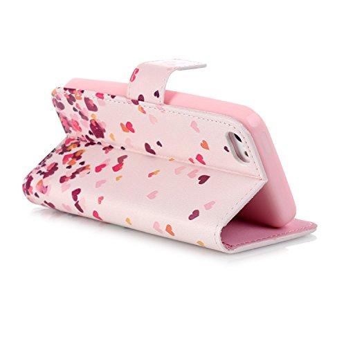 Voguecase® Per Apple iphone 5C,(sette fiori colorati) Elegante borsa in pelle Custodia Case Cover Protezione chiusura ventosa Con Stilo Penna Choi Cuore 03