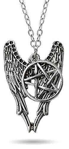 Cairo - New Famous Supernatural Pentagram Amulet Silver Color Angel Wings Necklace