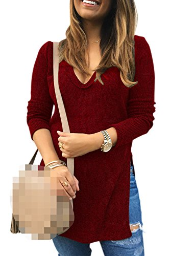 Un Pull Col En V Sfemmes Hiver Knit Pull Haut Robe Winered