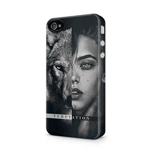 Maceste Temptation Wolf & Woman Kompatibel mit iPhone 4 / iPhone 4S SnapOn Hard Plastic Phone Protective Fall Handyhülle Case Cover
