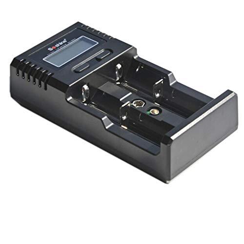 DEtrade Batterie Ladegerät LCD Universal Ladegerät für Li-Ion / LiFePO4 26650 18650 9V NiMH C AA AAA 9V (Black)