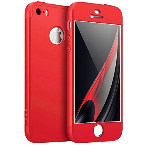 AILZH kompatibel für HandyHülle iPhone 5/5S/5SE Hülle 360 Grad Schutzhülle PC Schale Anti-Schock Anti-Kratz Stoßfänger 360 Grad Full-Cover Case Matte Schutzkasten 3 in 1(Red)