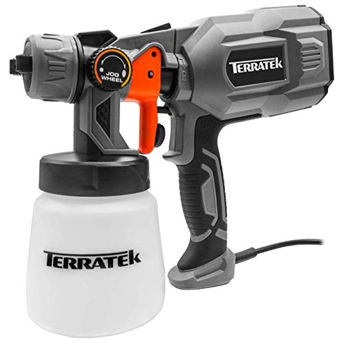 Terratek Paint Sprayer, 550W DIY Electric Spray Gun with 3 Spray Patterns, 1 x 800ml Paint Cups, HVLP Hand Held Spray Gun System, Fence Sprayer, Adjustable Valve, Painting, Varnishing, Lacquering