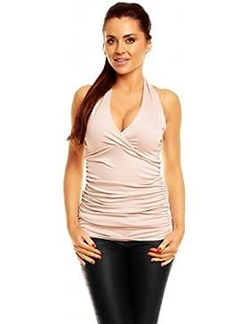 Zeta Ville - Mujer - Top Halter Jersey - Verano camiseta - 167z