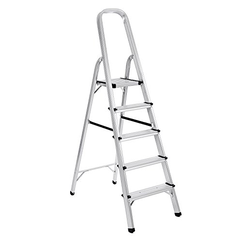 Songmics escaleras plegable de aluminio 5 peldaos carga for Escaleras aluminio amazon