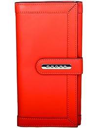 Cross® Women's 100% Genuine Leather Large Bifold Clutch-Orange