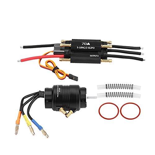 Dilwe RC Motor und ESC, 2958 3380KV Sensorless Motor w/ 29S Wasserkühlungsjacke & 70A Brushless Regler für RC Boot RC Modell Teile Zubehör -