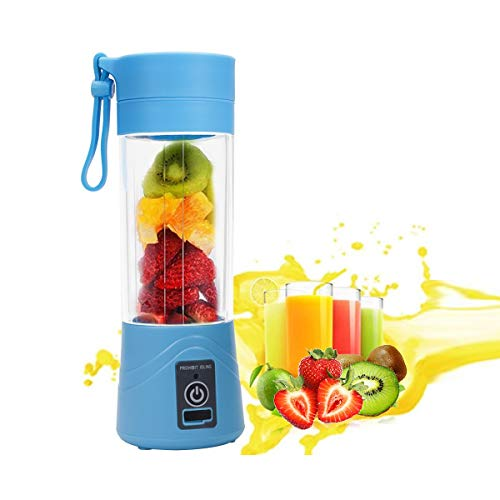 ieGeek Mini Mixer portatile per smoothie, ricaricabile tramite USB, senza BPA, 380 ml, blu