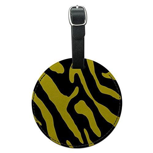 Zebra Print schwarz gelb rund Leder Gepäck ID Tag Koffer Handgepäck