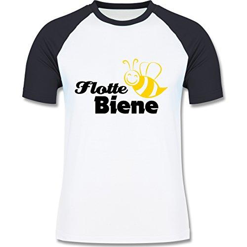 Laufsport - Flotte Biene - zweifarbiges Baseballshirt für Männer Weiß/Navy Blau
