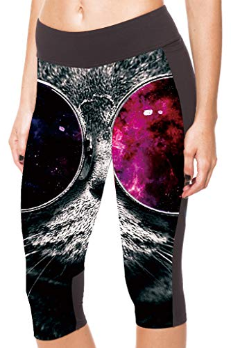 Ayujia Yoga Hosen Leggings Digitaldruck Schwarz Rot Brille Katze Hüfte Hohe Taille 7 Punkte Sporthose -1139