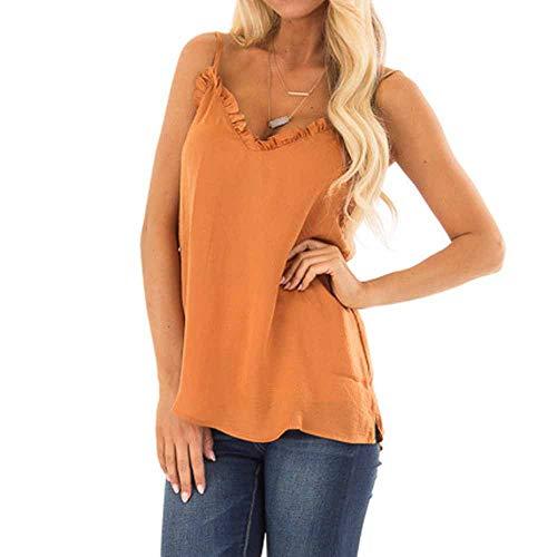 Camiseta de Gasa Casual de Mujer,ZARLLE Camiseta Tirantes Mujer Tank Tops para Mujeres Chaleco Blusa Tops Blusas Crop Tops Vest T Shirt Fiesta en la Playa para Mujeres Chica Joven