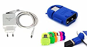 Signature High Speed charger kit (2.0Amp output)+Cute Little Fast Data transfer OTG Cable (with 1 year warranty)+Cute Little Fast Data transfer OTG Cable For Gionee Ctrl V4S