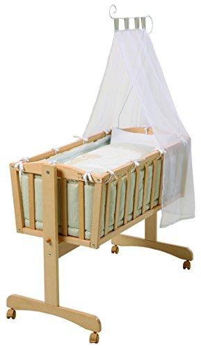 roba Komplettwiegenset, Babywiege 'Liebhab Bär' (40x90cm), Holz, natur, Stubenwagen & Wiege mit Feststellfunktion, Wiegenset inkl. kompletter Ausstattung & Baby Bettwäsche (80x80cm)