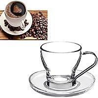 takestop Set de 6 tazas de 100 ml. Taza de café de cristal con asa