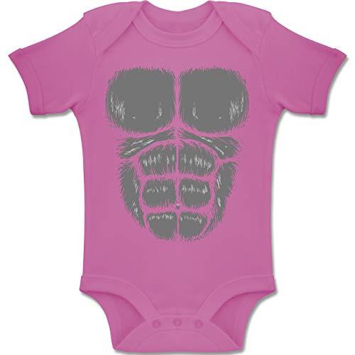 Shirtracer Karneval und Fasching Baby - Gorilla Kostüm Fasching - 6-12 Monate - Pink - BZ10 - Baby Body Kurzarm Jungen ()