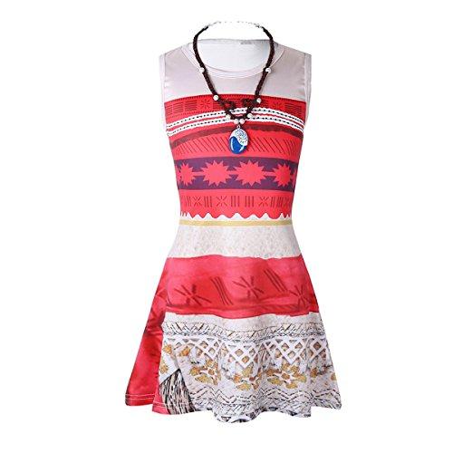 chen Kleid mit Halskette Blumenmädchenkleid Party Kleid Prinzessin Kleid Ärmellos Cosplay Kostüm für Halloween Cosplay Party Bunt 128-140/8-10 Jahre (Halloween-kostüme Unter 10)