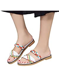 Ouneed® Damen Sandalen ,Damen Sommer Boho Casual Wedge Platform Thong Flip Flops Slip-On Flip Flops Strand Schwimmbad Hausschuhe Schuhe (37, Blau)