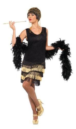 Fringed Flapper Kostüm, Kleid mit Spitzenfront und perlenbesticktem Saum, Größe: L, 33676 (Halloween Kostüm Ideen Mit Schwarzen Kleid)
