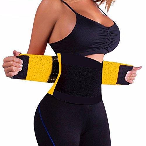 in 5 verschiedenen Farben Damen-Taillenformer Korsett Corset Power Gürtel in Gelb Größe M Fitnessgürtel Bauch weg Schwitzgürtel (Gelb Korsett)