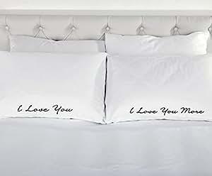 I Love You More Paire de taies d'oreiller pour lit de cadeau de Saint-Valentin/cadeau de mariage Épouse anniversaire Inscription Husband