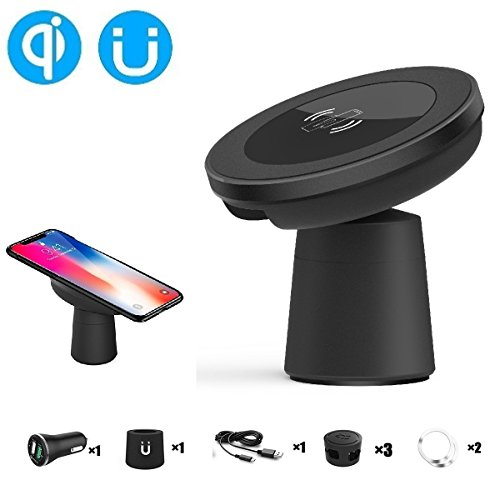 EooCoo Qi Wireless Car Charger, Magnetic Vehicle Mount Phone Holder Air Vent or Dashboard for iPhone 8 / 8 Plus / X ,for Samsung Glaxy Note 8/S8/S8 Plus and All Qi-Enabled Devices