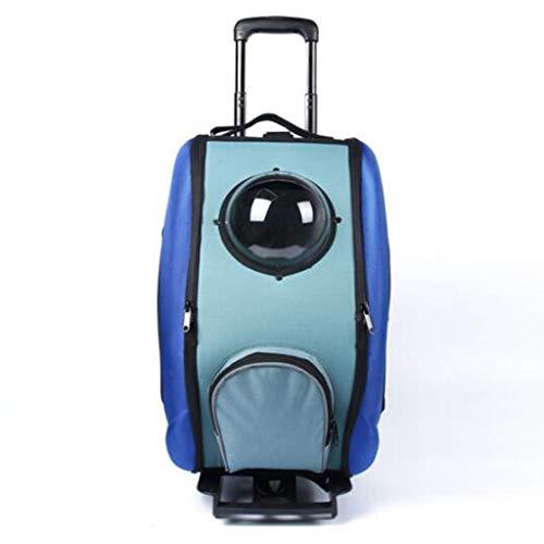DOARG Pet Trolley Case Chat et Chien Sac Voyage de côté imperméable et Respirante avec Sac de Rangement Grande capacité Portable Poulie Peut être déformé Espace Sac à Dos à roulettes (Color : Blue)