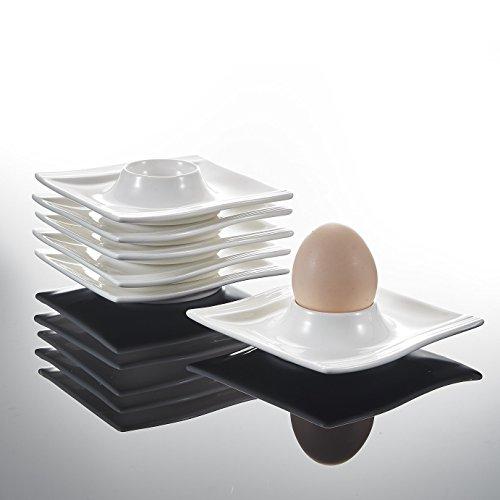 MALACASA, Serie Flora, 6 teilig Cremeweiß Porzellan Eierständer Set je 4,5 Zoll / 11,5x11,5x2cm Eierbecher Eierhalter - Egg Cup