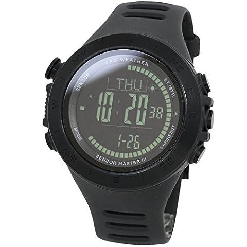[LAD WEATHER] Schweizer Sensor Höhenmesser Digitaler Kompass Wettervorhersage Entfernung/ Geschwindigkeit/ Schritt/ Übungszeit/ Kalorienverbrauch 100 Meter wasserdicht Sturmwarnung Weltzeit Herren uhr