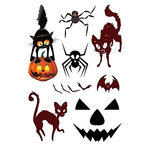 kashyk 5Pcs Halloween Temporäre Tattoos,Tätowierung Wasserdicht Festival Tattoos, Klebe-Tattoos Körper Aufkleber Schmuck Designs für Frauen Jugendliche Mädchen Body Art (Beängstigend Kostüm Für Jugendliche)