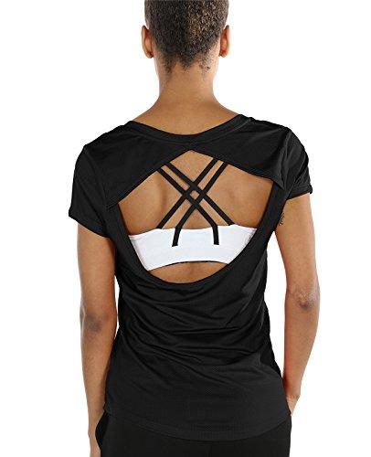 icyzone Fitness T-Shirts Damen Trainings Tops Rückenfrei - Sport Gym Kurzarm Oberteile (XL, Black)
