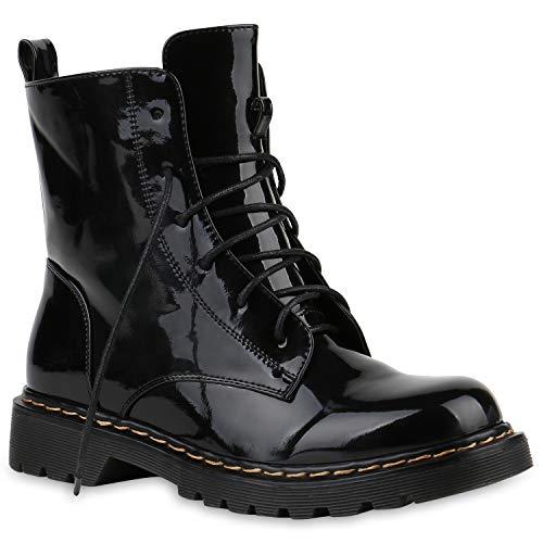 Damen Worker Boots Stiefeletten Booties Lack Knöchelhohe Stiefel Boots Profilsohle Schuhe 145212 Schwarz Metallic 38 Flandell