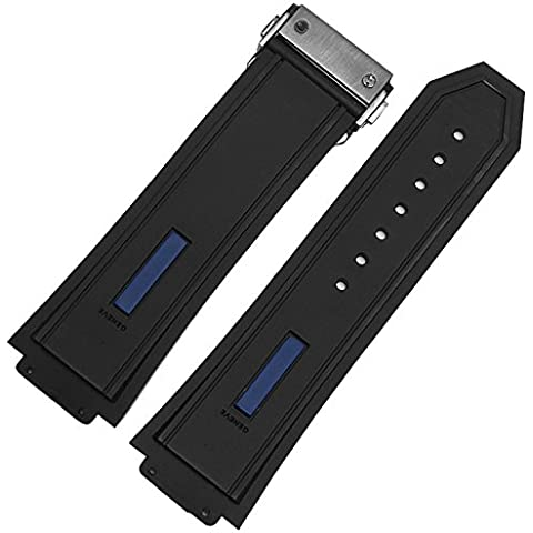 De repuesto 28mm negro azul de goma correa de reloj de cierre desplegable Hublot Big Bang