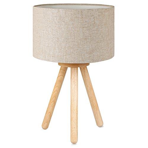 Tomons Lampada da comodino in legno, treppiede, Paralume classico in tela, adatta per camera da letto, soggiorno, studio e ufficio, altezza 39 cm, 1 x Lampadina LED da 4 W inclusa - lino
