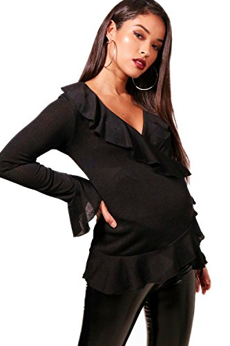 Schwarz Damen Maternity Poppy Ruffle Wrap Top - 12 (Top Ruffle Wrap)