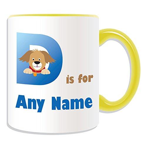 Regalo personalizzato-Lettera D per tazza, motivo: alfabeto, vari colori disponibili,