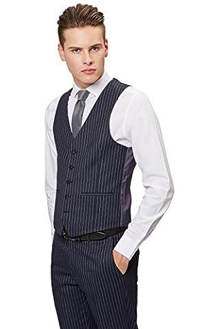 Moss London Men's Skinny Fit Navy Pinstripe Waistcoat 38R Blue