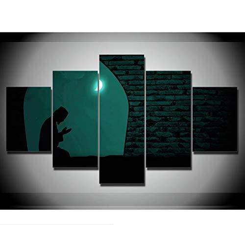 inwandbilder Wohnkultur Arbeit Drucke Bilder 5 Stücke Beten In Der Nacht Unter Dem Mond Wandkunst ()