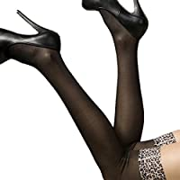 18MM Leopard Lace Top Black Hold Ups Stockings Pantyhose Tights (Black Leopard)