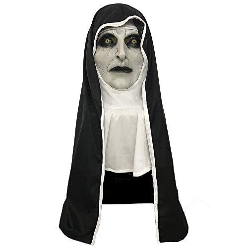 Mesky Nonnen Maske Halloween Mask Nun Kostüm Zubehör Demon Nun Vollkopfmaske Latexmaske mit Kostenloser Haube für Cosplay leicht 300gr One Size