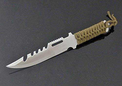 Fahrtenmesser 23 cm Survival Messer mit Scheide - Tarnfarbe grün - tactical Knife - SWAT