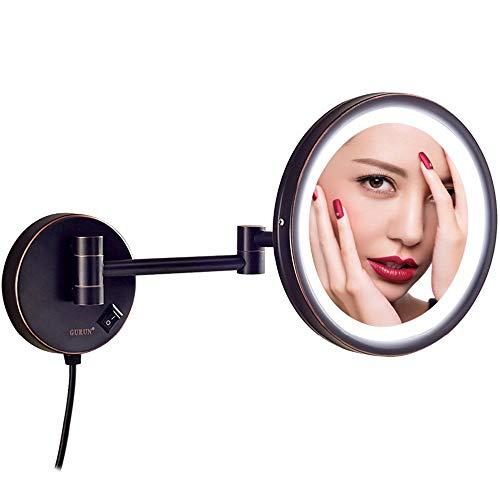 Espejos de maquillaje LED montados en la pared, espejos de vanidad plegables de baño de latón iluminado...