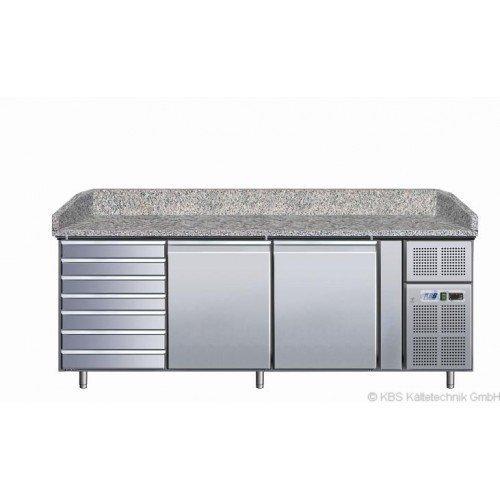 KBS Pizzakühltisch KBS 2610 - mit 2 Türen und 7 ungekühlten Teigschubladen