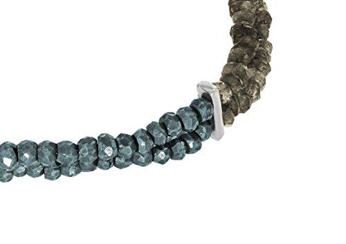 Jade Jagger Labradorite Pyrite et plaqué martelé 2 rangées de perles Bracelet 18 cm Plaqué argent