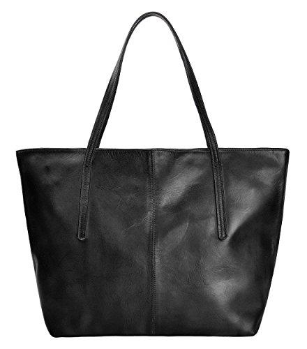 Sac à main en Cuir Dio Dye Style Vintage pour Femmes Grande fermeture à glissière, Marron noir